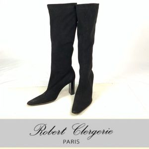 ROBERT CLERGERIE Black Stretch Suede Tall Boot